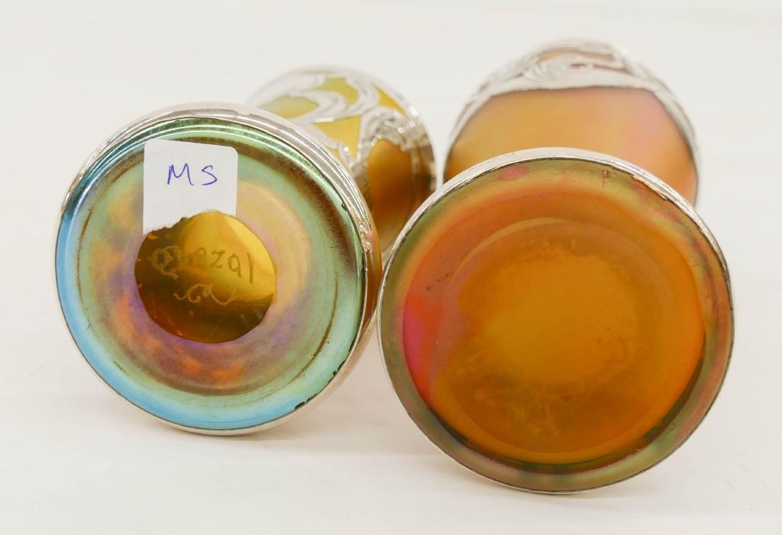 2pc Quezal & Loetz Silver Overlay Iridescent Glass - 2