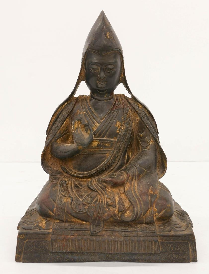 Chinese Parcel Gilt Seated Bronze Buddha 14''x10''. A