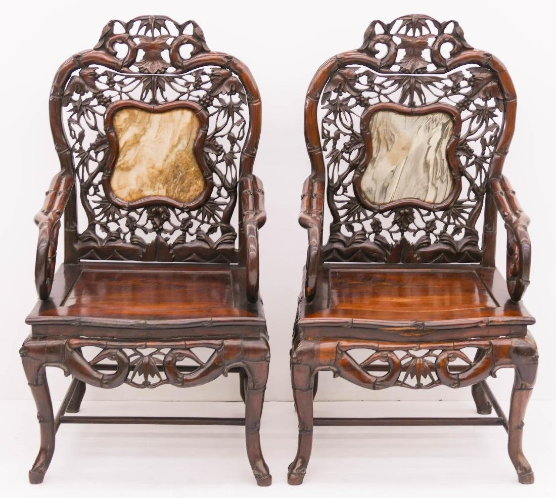 Pair of Fine Chinese Rosewood Armchairs