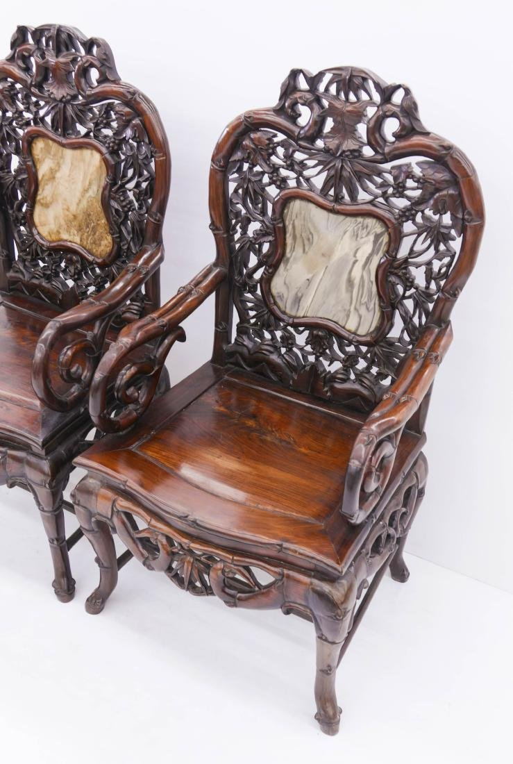 Pair of Fine Chinese Rosewood Armchairs - 2