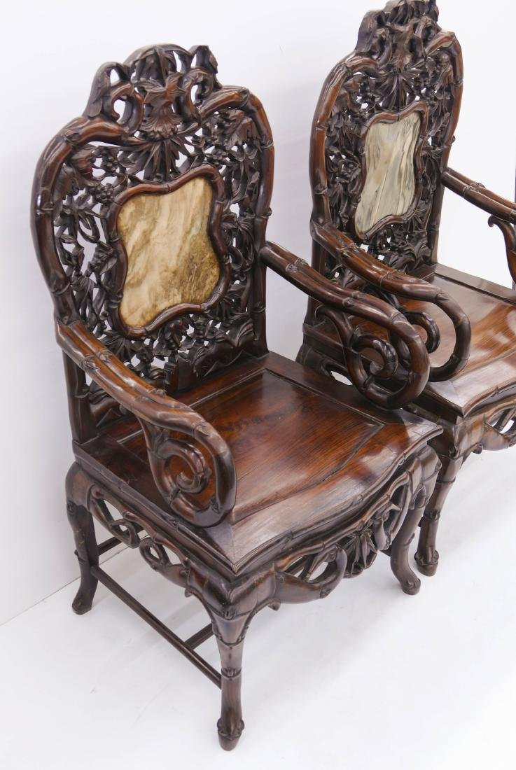 Pair of Fine Chinese Rosewood Armchairs - 6