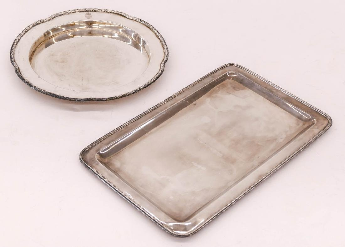 2pc Continental 800 Silver Serving Trays. Includes a