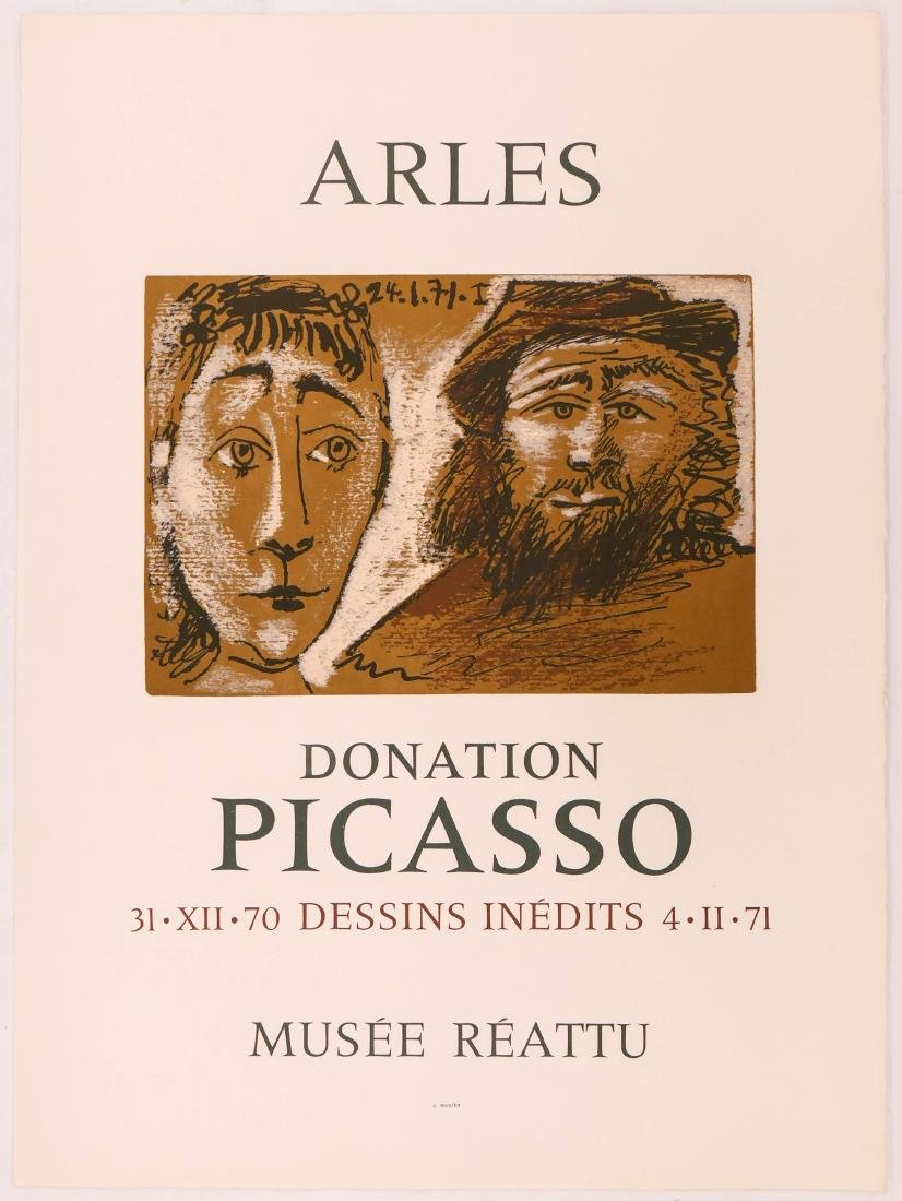 2pc Vintage Picasso Exhibition Lithographs on Wove - 2