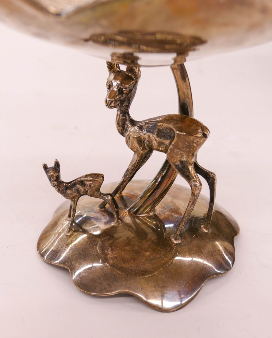 """Cartier Figural Deer Sterling Compote 7""""x8.5"""". A scallo - 2"""