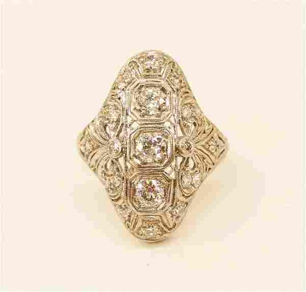 Lady's Platinum .66ctw Diamond Art Deco Cocktail Ring