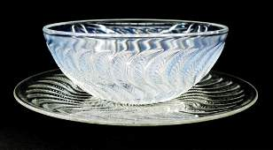 2pc R Lalique Actinia Glass Bowl  Under Tray