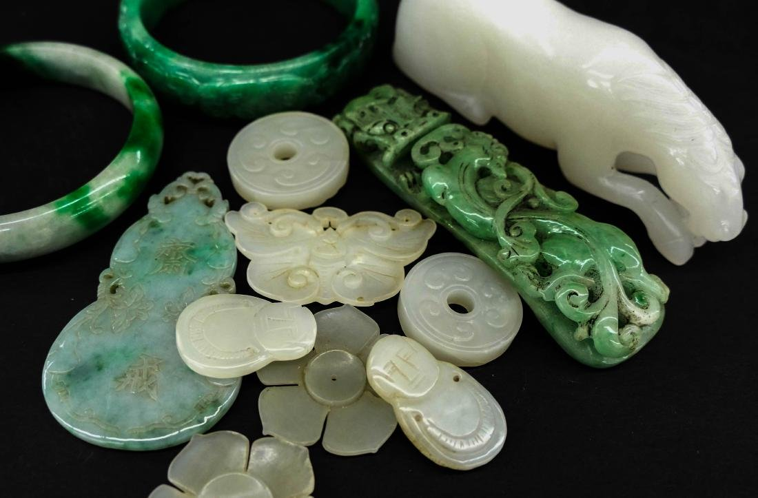 12pc Chinese Jade Bangles, Buttons, and Carvings.