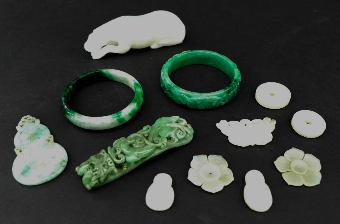 12pc Chinese Jade Bangles, Buttons, and Carvings. - 2