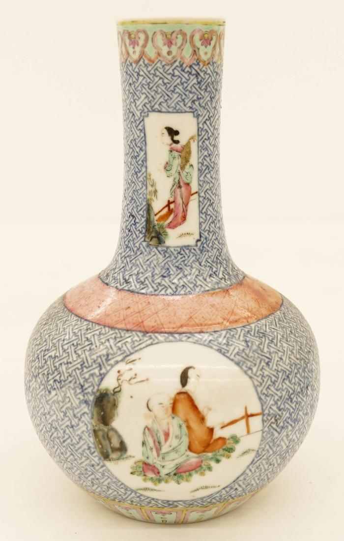 Chinese Famille Rose Porcelain Bottle Vase 7.5''x5''. - 3