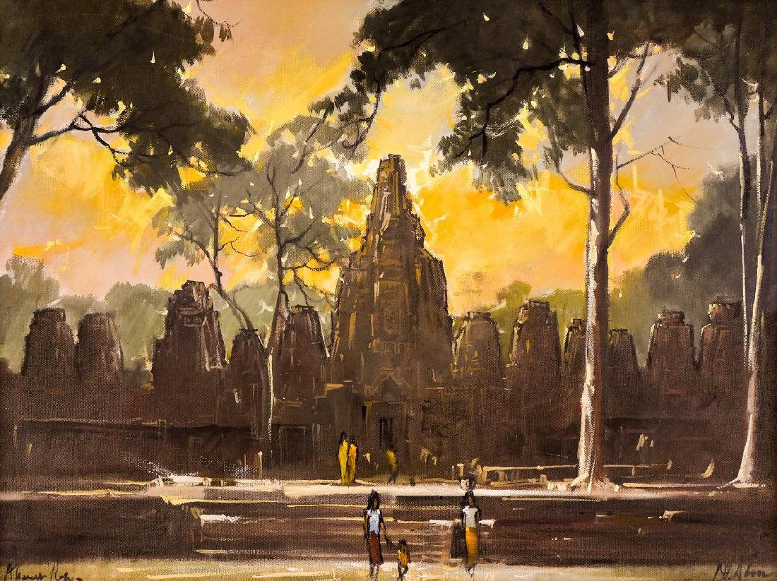 Nhek Dim (1934-1978 Cambodian) ''Khmer Ruins'' Oil on