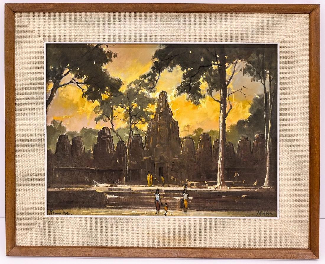 Nhek Dim (1934-1978 Cambodian) ''Khmer Ruins'' Oil on - 2