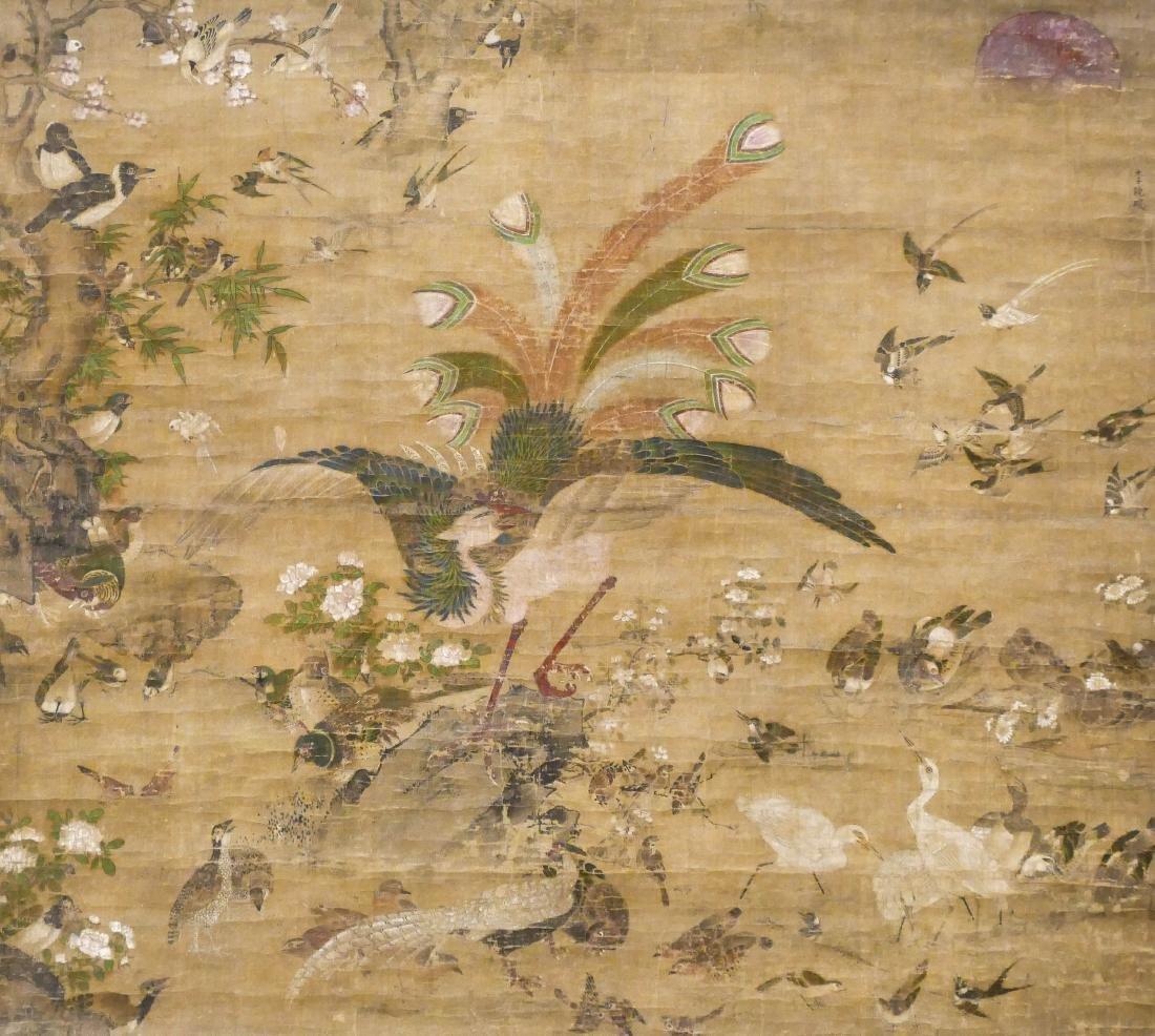 Edo Japanese Phoenix with Birds Large Scroll Painting