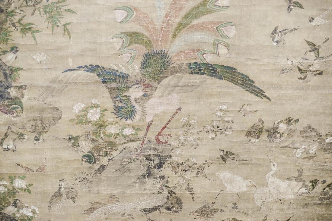 Edo Japanese Phoenix with Birds Large Scroll Painting - 3