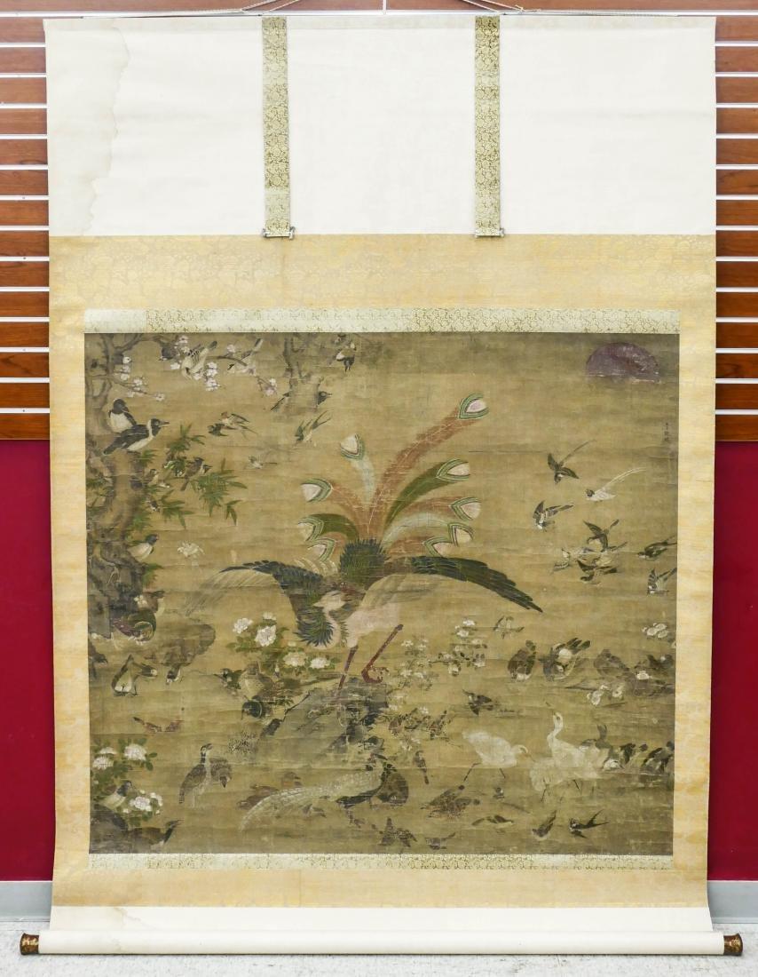 Edo Japanese Phoenix with Birds Large Scroll Painting - 4