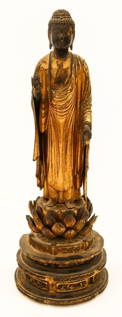 Edo Japanese Gilt Lacquered Standing Buddha 21''x7.5''.