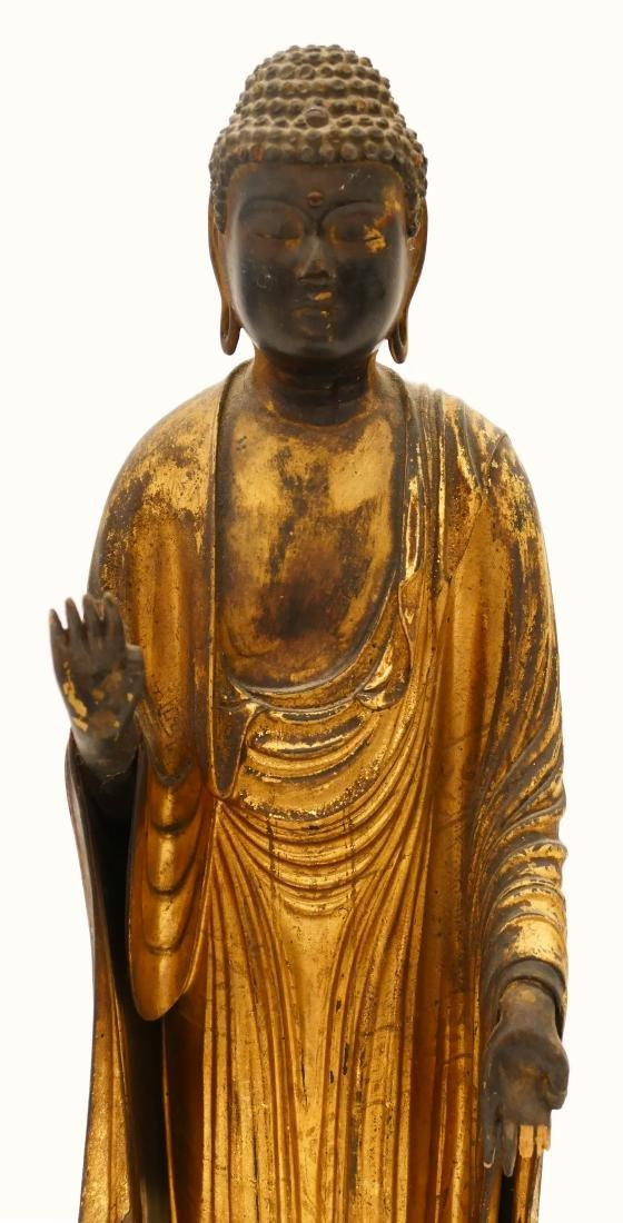Edo Japanese Gilt Lacquered Standing Buddha 21''x7.5''. - 2
