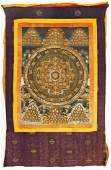 Tibetan Painted Thangka Silk Mounted 45x30