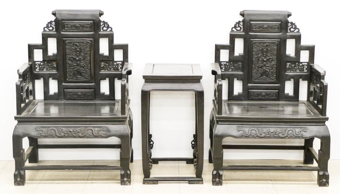 Fine Chinese Zitan Dragon Throne Chair & Table Set.