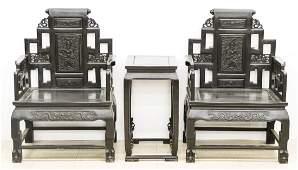 Fine Chinese Zitan Dragon Throne Chair & Table Set.