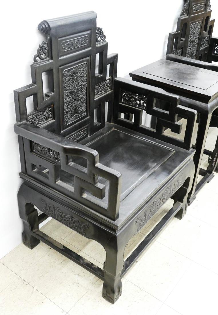 Fine Chinese Zitan Dragon Throne Chair & Table Set. - 5