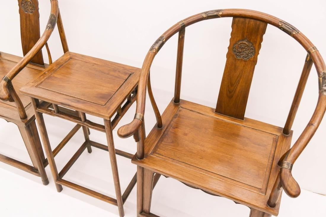Chinese Huali Horseshoe Chair & Table Set. - 3