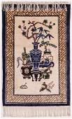 Chinese Silk Precious Ornaments Hanging Rug 38x24