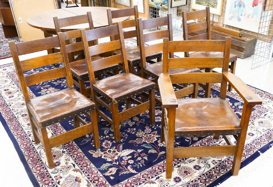 Set of 7 Gustav Stickley #349 1/2 Dining Chairs