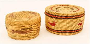 2pc Fine Makah Indian Treasure Baskets 3x5 and