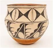 Old Santa Domingo Polychrome Pottery Water Jar 9''x9''.