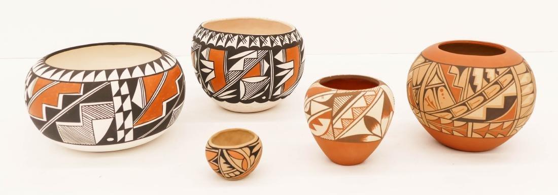5pc Acoma and Jemez Polychrome Pottery Jars 2'' to
