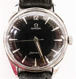 Vintage Omega Seamaster Black Dial Men's Wristwatch.