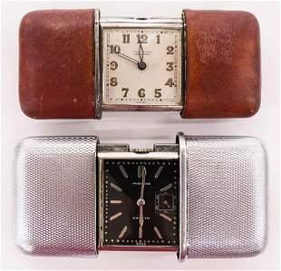 2pc Vintage Movado Ermeto & Chronometre Travel Clocks.