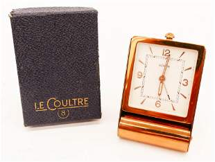 Vintage LeCoultre 8 Day Alarm Travel Clock in Box. A