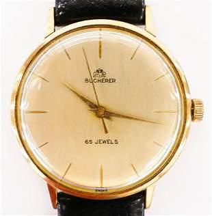 Vintage Bucherer 65 Jewels 18k Men's Wristwatch..