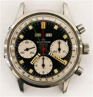 Vintage Wakmann Incabloc Chronograph Wrist Watch.