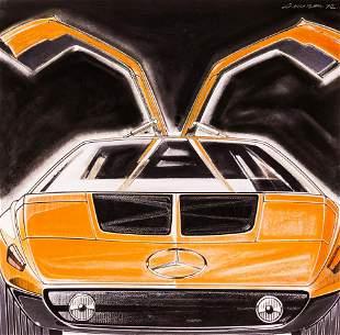 Vintage Mercedes Benz C111 Original Concept Car Art by