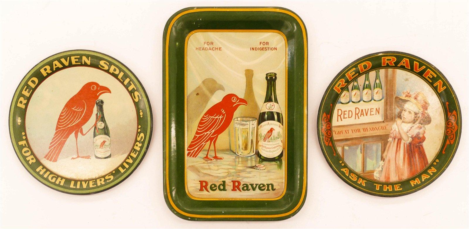3pc Antique Red Raven Water Tin Advertising Tip Trays.
