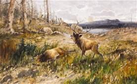 John Fery (1859-1934 American) Elk in Landscape Oil on