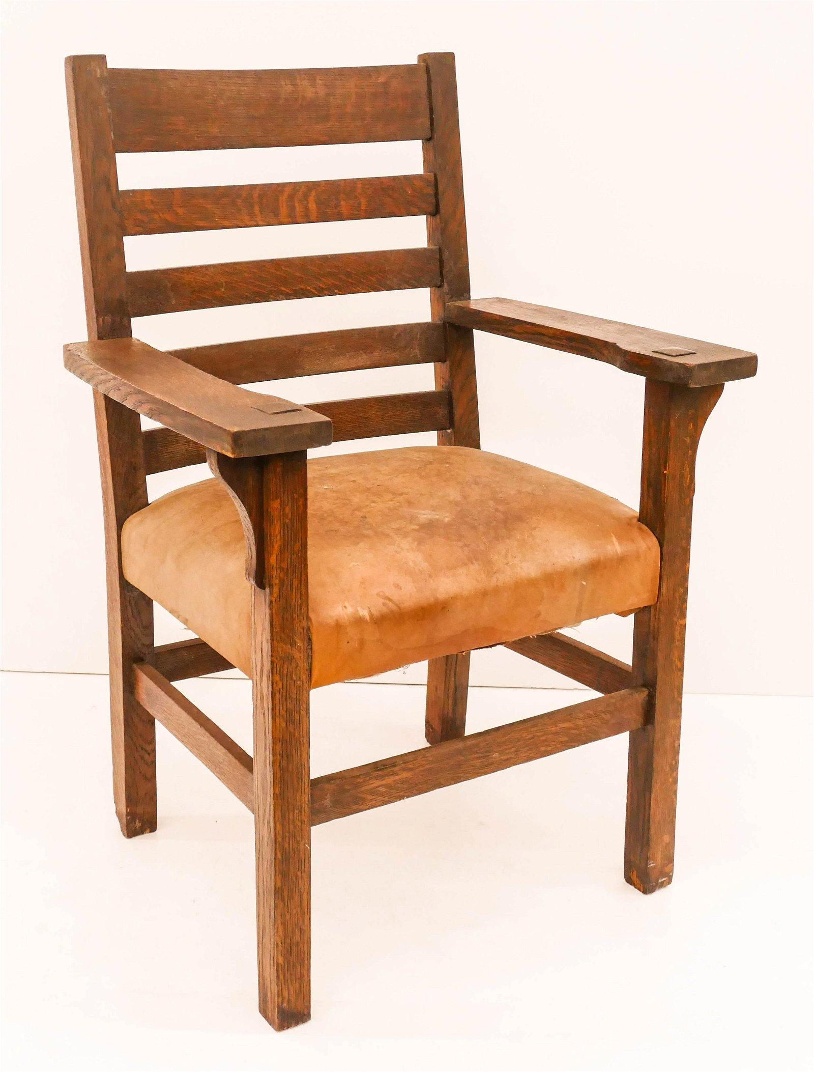 J.M. Young Arts & Crafts Oak Armchair 39''x27''x21''. A
