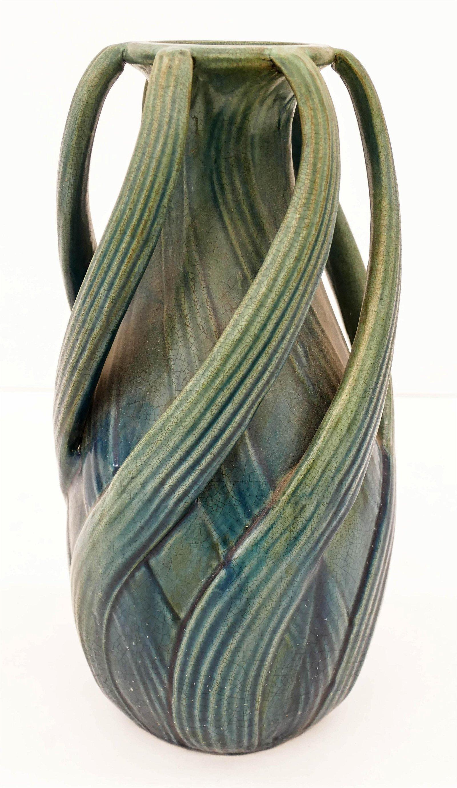 Austrian Art Nouveau Twist Handle Pottery Vase