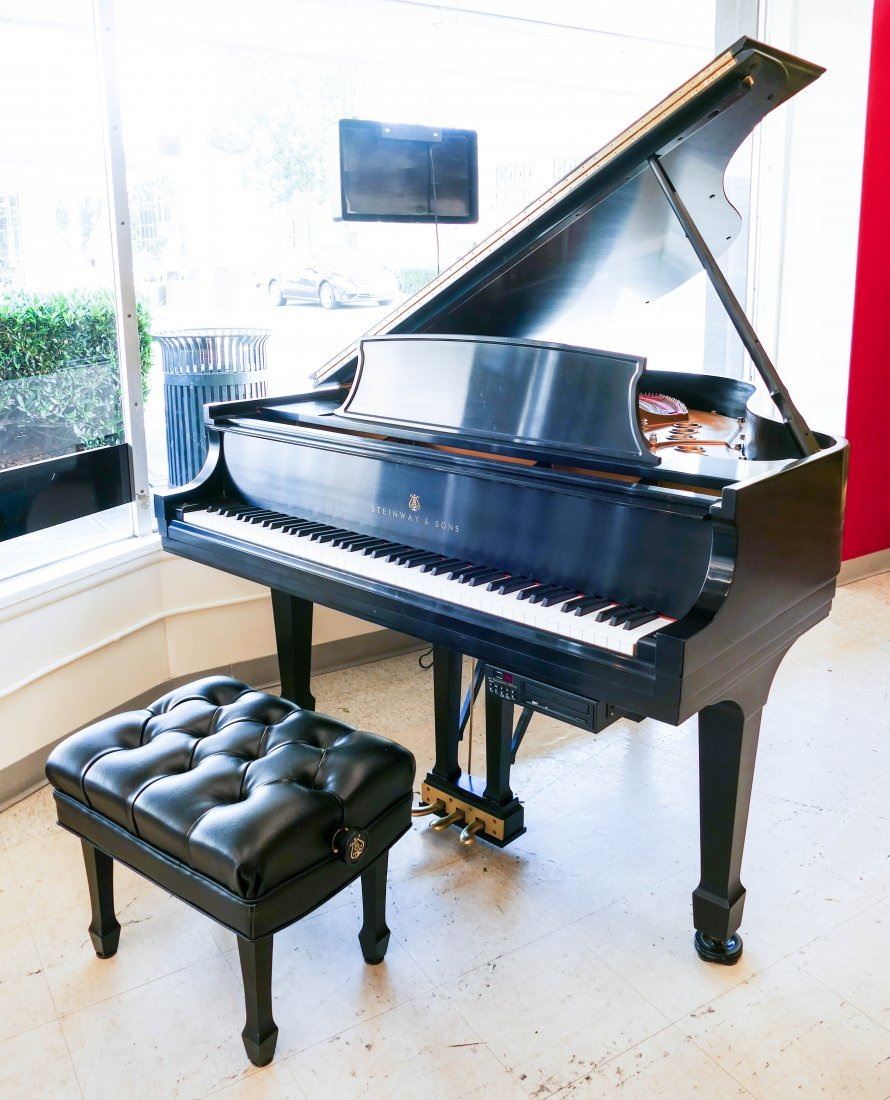 1998 Steinway Model M Ebony Grand Piano with Bench.