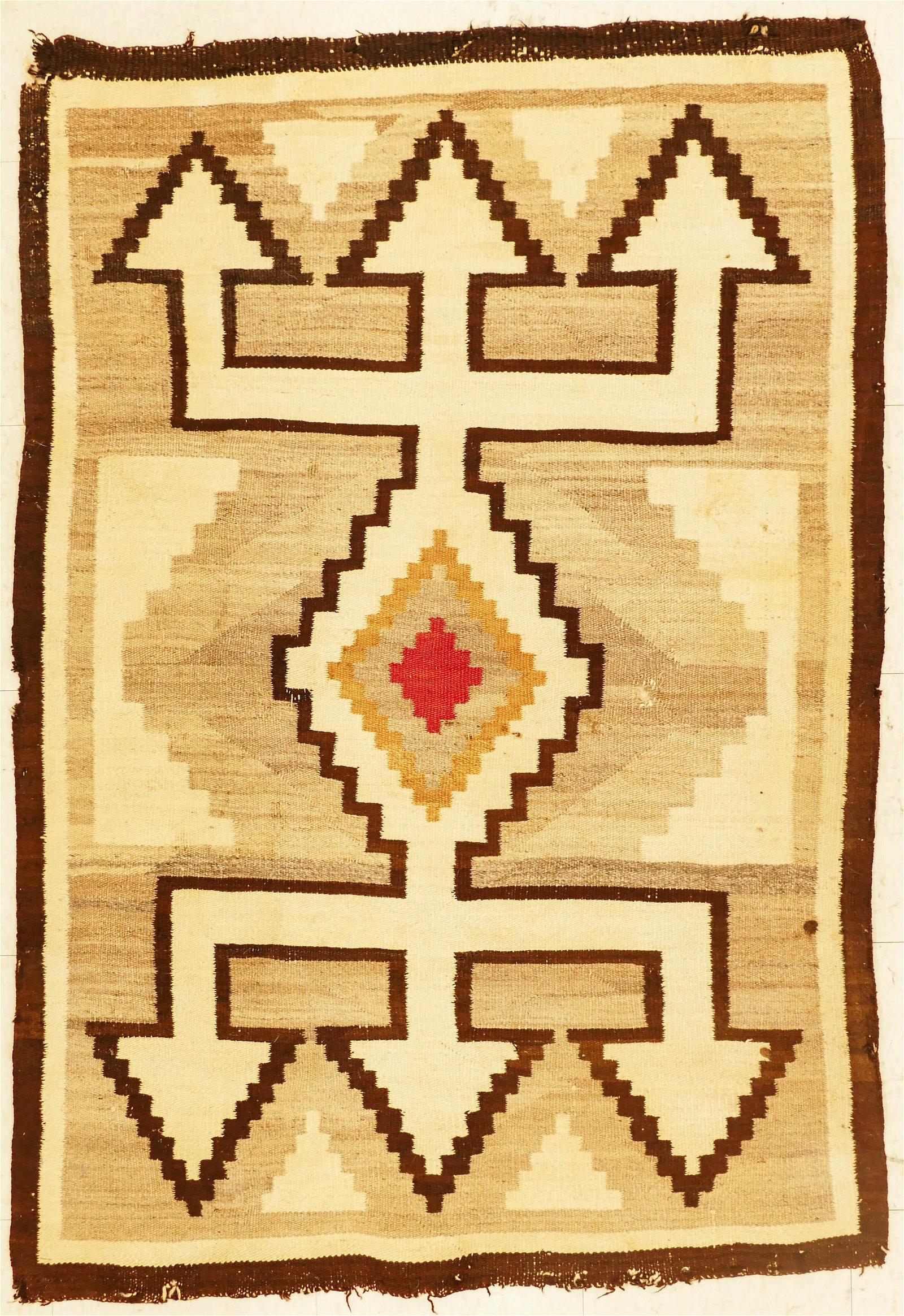 3pc Old Navajo Wool Rugs. Includes a geometric four