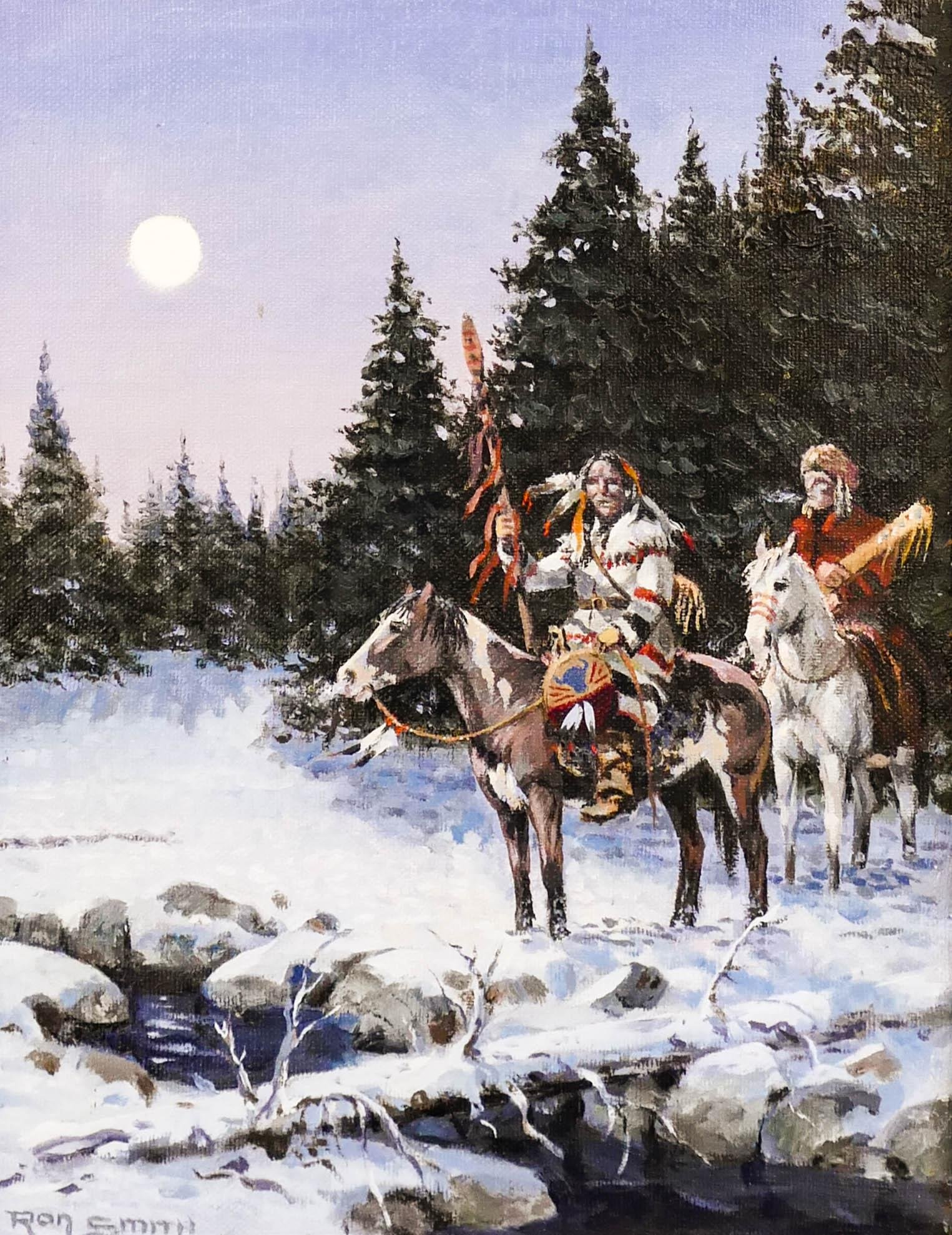 Ron Smith (20th Cent. Washington) Indians Night Scene