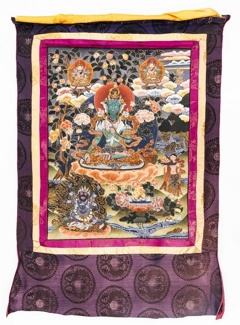 Tibetan Tara and Vajrapani Painted Thangka Silk Mounted