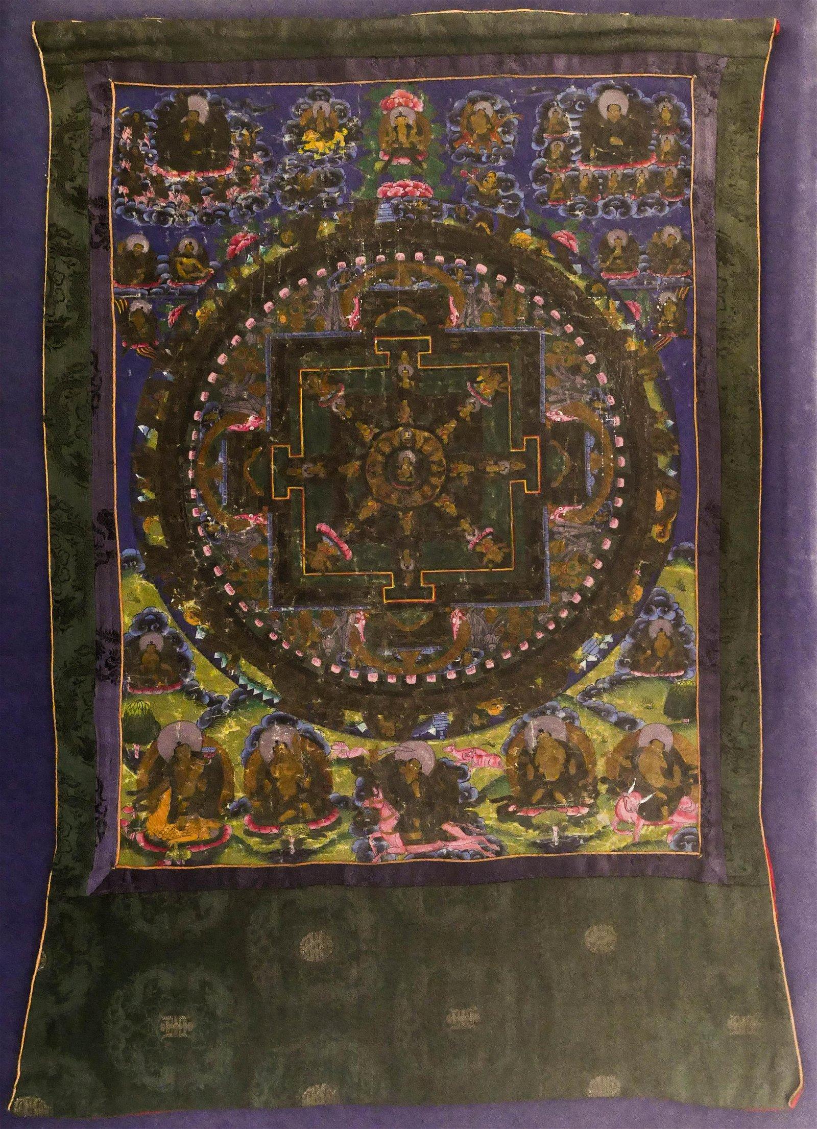 Tibetan Wheel of Life Painted Thangka Silk Mounted