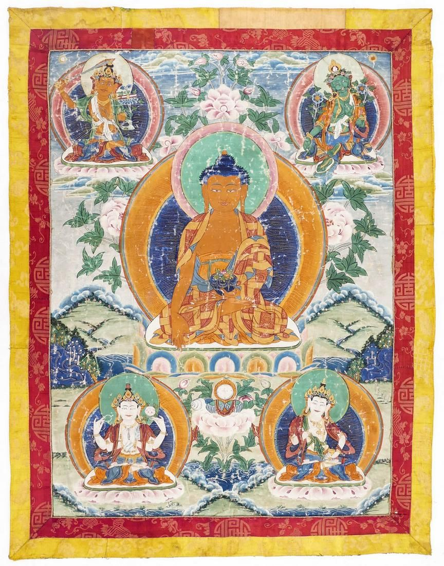 Old Tibetan Shakyamuni Buddha Painted Thangka