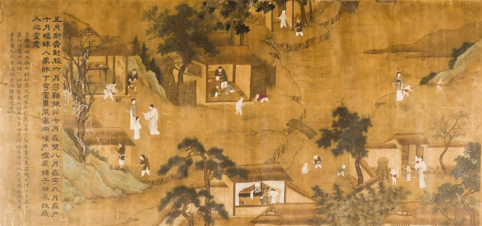 Chinese 18th Cent. Temple Landscape Ink on Silk Scroll