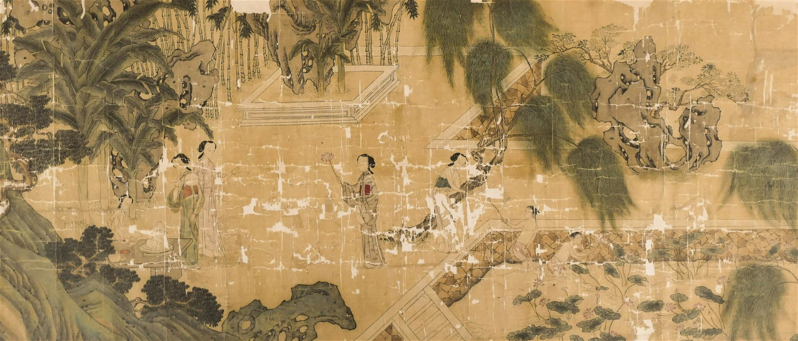 Chinese 18th Cent. Courtesans Bathing Ink on Silk