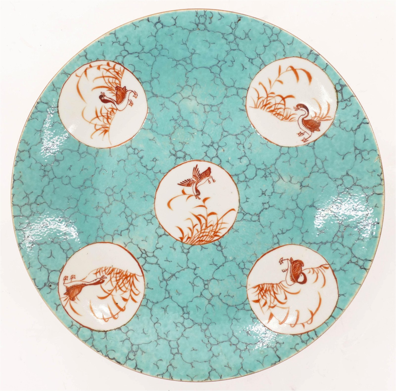 Chinese Turquoise Ground Porcelain Bird Plate