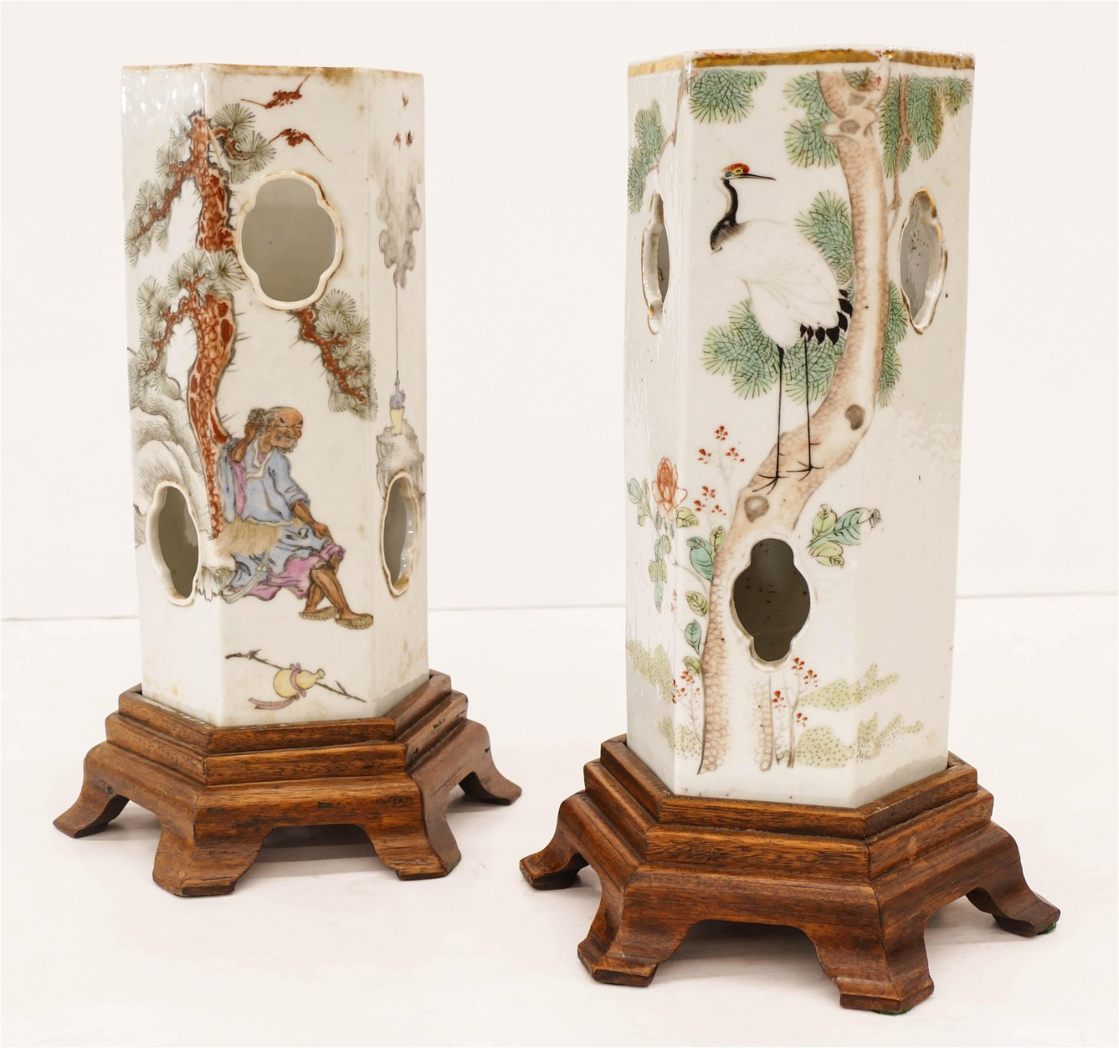 2pc Chinese Republic Porcelain Hat Stands 11''x5''
